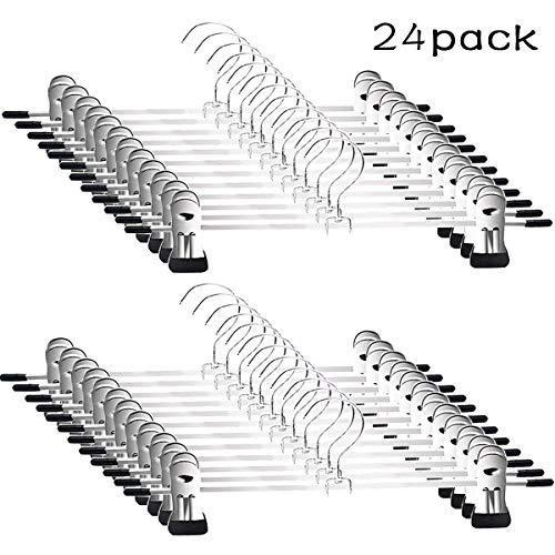 Pants Hangers - Skirt Hangers 24 Pack Skirt Metal Pants Hangers Chrome Skirt Hangers with Non-slip Adjustable Clips Space Saving Pants Hanger for All Kinds of Clothes Pants