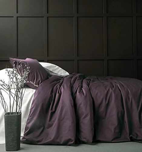 Solid Color Egyptian Cotton Duvet Cover Luxury Bedding Set High Thread Count Long Staple Sateen Weave Silky Soft Breathable Pima Quality Bed Linen (King, Purple Grape) (King Duvet Cover Purple)