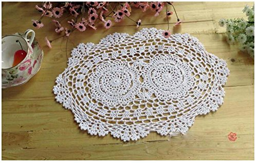 WCHUANG Oval Handmade Crochet Cotton Lace Placemats Doilies 4pc (9.8