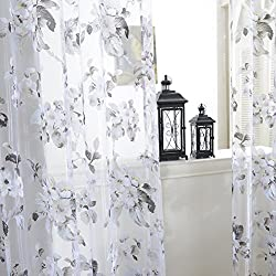 Edal Door Sheer Voile Window Curtain Panel Drape Room Floral Tulle Scarfs Valances Light Purple