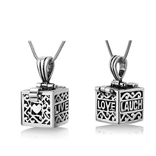 "925 Sterling Silver Filigree ""Live Love Laugh"" Heart Prayer Box Square Locket Pendant Necklace 18"""
