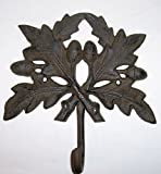 """ABC Products"" – Very Large – Heavy Cast Iron – Wall hook – Oak Leaf Design – Large Hook Looped Hook At The Base – (Wall Hung – Rustic Dark Bronze Finish)ch Review"