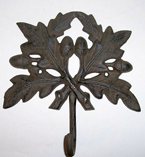 """ABC Products"" - Very Large - Heavy Cast Iron - Wall hook - Oak Leaf Design - Large Hook Looped Hook At The Base - (Wall Hung - Rustic Dark Bronze Finish)ch"