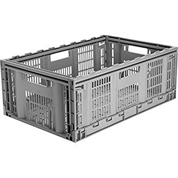 CleverMade CleverCrates Pro Grade 46 Liter Collapsible Storage Bin/Container:  Grated Wall Utility