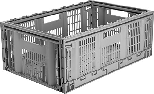 CleverMade CleverCrates Pro-Grade 46 Liter Collapsible Storage Bin/Container: Grated Wall Utility Basket/Tote, (Collapsible Plastic Crates)
