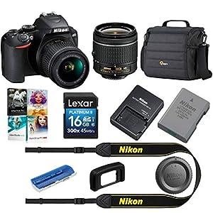 Nikon D3500 24MP DSLR Camera with AF-P DX NIKKOR 18-55mm f/3.5-5.6G VR Lens, Black – Bundle with Camera Case, 16GB SDHC…
