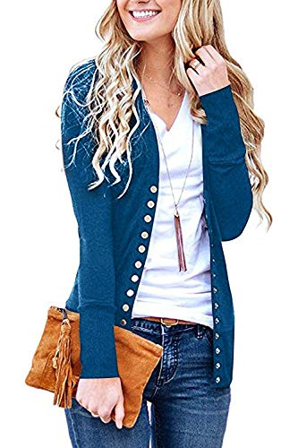(Women's S-3XL Solid Button Front Knitwears Long Sleeve Casual Cardigans Navy L )