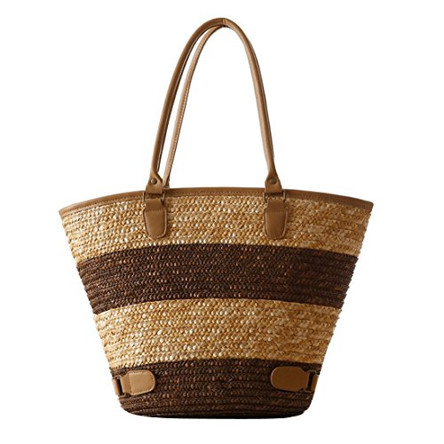 Dunland Women Vintage Straw Nature Genuine Holiday Stripe Tote Shoppers Shoulder Bag Handmade Purse Brown