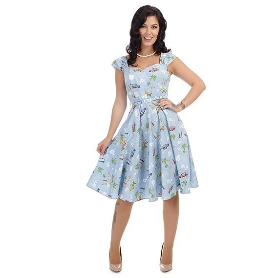 d4b5a8576c Collectif Vintage Women s Sandra Car Print Swing Dress Blue  Amazon ...