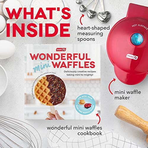 Dash DMWGS001RD Machine for Individual, Paninis, Hash Browns, other Mini waffle maker, 4 inch, Red Giftpack