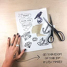 Tattify DIY Temporary Tattoo Paper 5 Pack For Inkjet Printers, Printable Long Lasting Custom Tattoos At Home, Sticker Transfer Sheets With Clear Instructions, Waterproof And Sweat Resistant