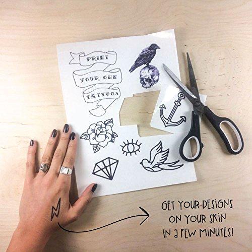 Tattify diy temporary tattoo paper 2 sheet pack for inkjet for Diy tattoo transfer paper