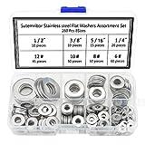 Sutemribor 260Pcs 8 Sizes Stainless Steel Flat Washers, 1/2 3/8 5/16 1/4 12# 10# 8# 6# Hardware Gasket Assortment Kit
