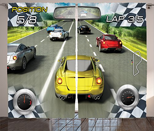 Ambesonne Cars Decor Curtains, Car Racing Video Game Inspired Illustration Need for Speed Road Competition Motor Sports Theme, Living Room Bedroom Decor, 2 Panel Set, 108 W X 84 L Inches, Multi