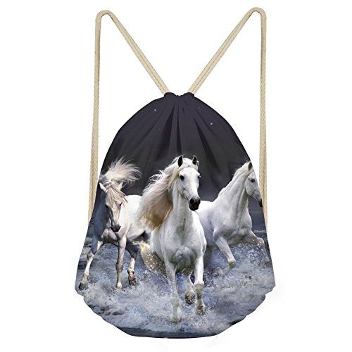 Childrens Small Storage - Running Horses Drawstring Backpack Rope Girls Unisex School Shoulder Storage Bag