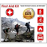 Premium Compact 130 Piece First Aid Kit for Family, Home, Travel, Camping, Hiking, Sports, Survival And More! 100% Money Back Guarantee!