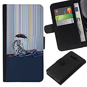 YiPhone /// Tirón de la caja Cartera de cuero con ranuras para tarjetas - Psychedelic Rainbow Tigre Blanco - Samsung Galaxy Core Prime