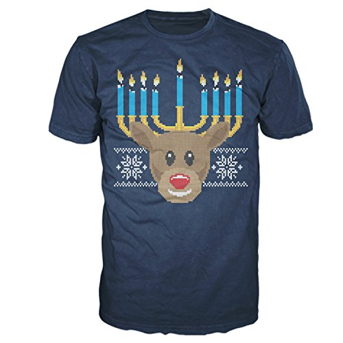Men's Funny Hanukkah Menorah Reindeer Ugly Sweater Print Holiday Graphic T-Shirt by Four Seasons Design (Lightweight, Size Large) Navy -