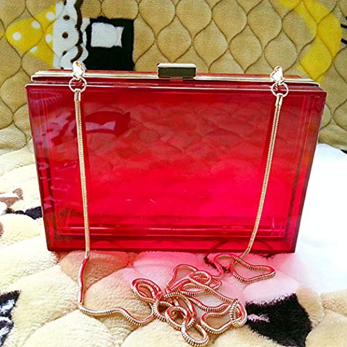 Transparent Women Ladies Rosy Fashionable Red Gift Ideal Shoulder Box for Bags Crossbody Evening Handbag Clutches Luxury Bright RISUP 75WgnqaPT7