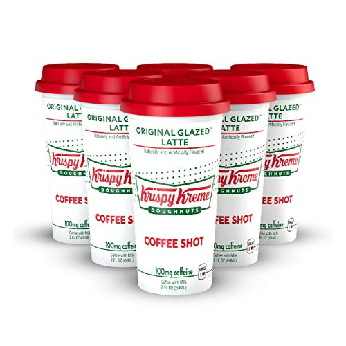 Ready to Drink, Bottled Krispy Kreme Coffee Shots - 100mg Caffeine, Original Glazed Latte, Deliciously sweet coffee energy boost in a ready-to-drink 2-ounce shot, 6 pack