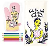 """Blue Q """"I've Got a Knife"""" Oven Mitt and """"Get the Hell out of my Kitchen"""" Dish towel Plus 2 Colorful Pens"""