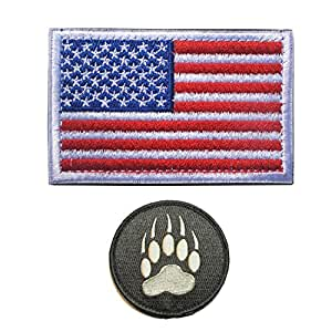 GrayCell Tactical Flag and Claw Print Patch Morale Military for Vest or Jackets