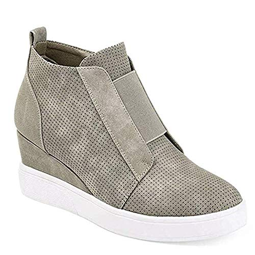 Coutgo Womens Wedge Platform Sneakers Side Zipper High Top Ankle Booties Perforated Flat Shoes