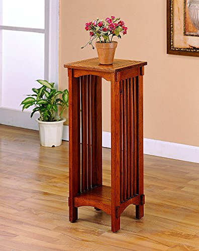 Oak Plant Stand Slatted Brown Wooden High Narrow Decor Home Office Furniture Rack Lower Shelf Square Top Bottom Living Room Kitchen Waiting Room Bedroom & eBook by Easy&FunDeals (Lower Shelf Slatted)