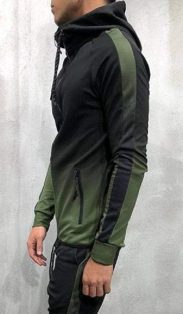 Joe Wenko Men Casual Zipper Long Sleeve Hooded Jacket Color Block Sweatshirt