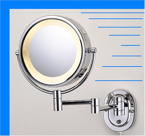 Gecious Wall Mounted Lighted Mirror Magnified Makeup With
