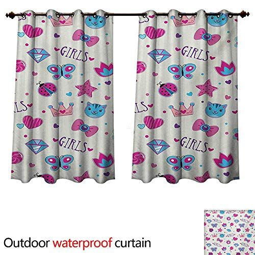 WilliamsDecor Teen Girls Outdoor Ultraviolet Protective Curtains Pattern with Funny Doodle Elements Bowtie Ladybird Diamond Figures and Kitty W72 x L63(183cm x 160cm)