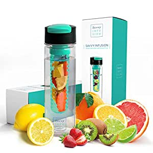 Savvy Infusion Flip Top Fruit Infuser Water Bottle - 24 Ounce - Unique Leak Proof Lid - Great Gift for Women w/ Bonus Recipe eBook