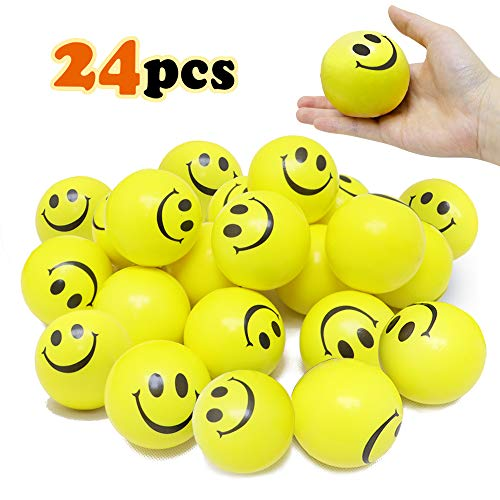 VCOSTORE Smile Face Stress Balls, 24 Pack of Yellow Funny Squeeze Balls Bulk , 3