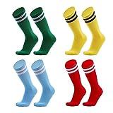 VWU 4 Pack Unisex Children Knee High Double Stripes Athletic Soccer Football Socks