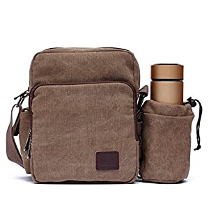 Mlife Men Canvas Messenger Bag with Bottle Holder (Brown)