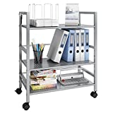 LANGRIA 3-Tier Kitchen Storage Cabinet Cart, Island Trolley Cart Wire Mesh Rolling Cart for Serving Utility Organization with Easy Moving Flexible Wheels, 66 lbs Weight Capacity, Silver