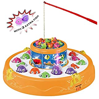 Haktoys Deluxe Fishing Game Toy Set | Rotating Boards with Two Fish Pools | Premium Version Fishing Set with 2 Extra Fish Included | Quiet Play Option for Parents for Toddlers and Kids