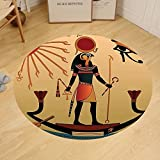 Gzhihine Custom round floor mat Egyptian Decor of Ancient God Sun Ra Old Egyptian Faith Grace Icons Traditional Pagan Print Bedroom Living Room Dorm Multicolor