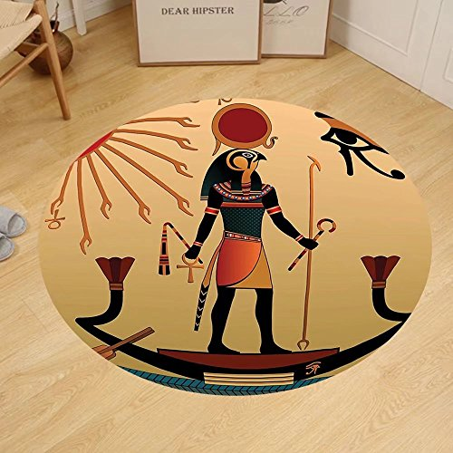 Gzhihine Custom round floor mat Egyptian Decor of Ancient God Sun Ra Old Egyptian Faith Grace Icons Traditional Pagan Print Bedroom Living Room Dorm Multicolor by Gzhihine