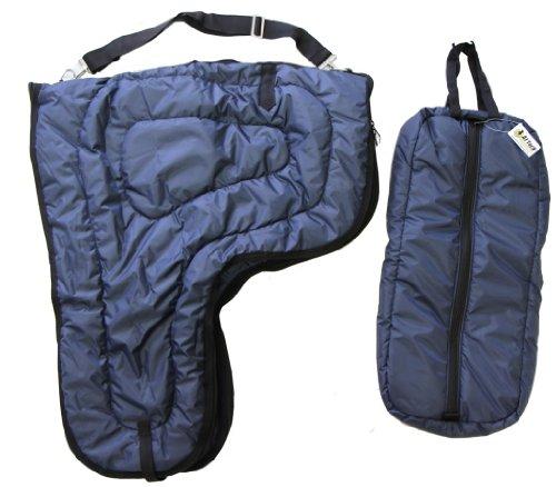 Western Horse Saddle Carrier and Bridal Halter Bag Large Padded Navy Blue Set -