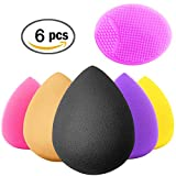 Crafteeze 6pcs Beauty Makeup Blender Sponges - Bonus Facial Exfoliating Cleanser Brush - Cosmetic Blending and Contour Applicator Set for Powder, Cream, Concealer, Blush, Primer and Foundation