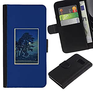 LASTONE PHONE CASE / Lujo Billetera de Cuero Caso del tirón Titular de la tarjeta Flip Carcasa Funda para Samsung Galaxy S6 SM-G920 / Night Tree Poster Frame Nature