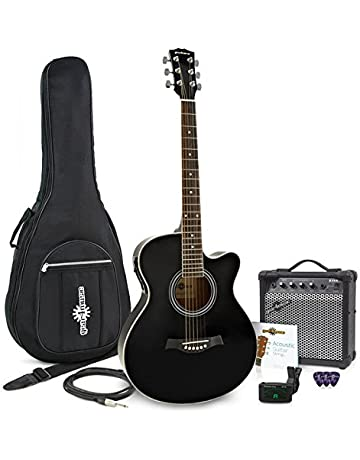 Guitarra Electroacústica de Cutaway Individual + Paquete de Ampli de 15 W Negro