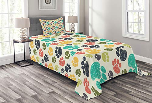 Ambesonne Dog Lover Bedspread Set Twin Size, Cute Hand Drawn Paw Print Doodles Circular Pattern Children Drawing Style Animal, 2 Piece Decorative Quilted Coverlet with 1 Pillow Sham, Multicolor