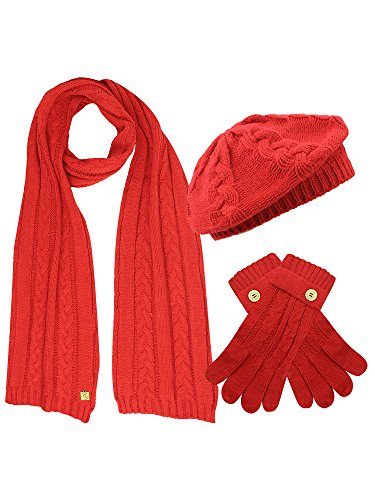 Red Cable Knit Beret Hat Scarf & Glove Matching 3 Piece Set ()