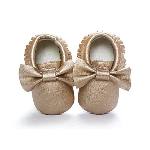 LIVEBOX Infant Baby Girls' Bow Mocassins Soft Sole Anti-Slip Tassels Prewalker Toddler Shoes, Small, 0-6 Months, Golden (Leather Gold Footwear Toddler)