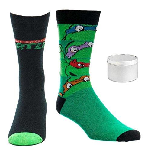 Teenage Mutant Ninja Turtles Mens' Crew Socks 2 Pair & Tin - 3 Piece Gift Set (10-13) ()