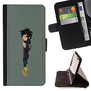 BullDog Case - FOR/HTC One M9 / - / BOY CARTOON CHARACTER ART DRAWING PAINTING /- Monedero de cuero de la PU Llevar cubierta de la caja con el ID Credit Card Slots Flip funda de cuer