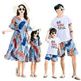 Elufly Summer Family Matching Outfits Floral Mommy Daughter Dresses & Daddy Babies T-Shirt Pants Parent-Child Clothing (Mom B, XL)