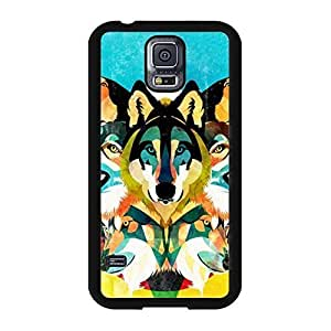 Colorful Geometric Wolf Image Animal Collection Snap On Case Cover for Samsung Galaxy s5 I9600 Designed by HnW Accessories